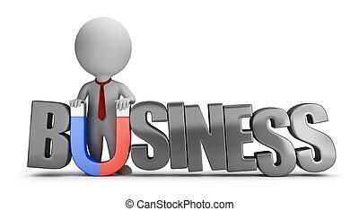 3d, 小さい, 人々, -, ビジネス, 磁石