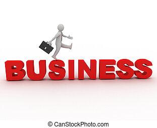 3d, 小さい, 人々, -, ビジネス, .3d, レンダリングした, イラスト