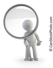 3d, 小さい, 人々, -, 拡大鏡