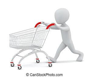 3d, 小さい, 人々, -, 買い物, cart.