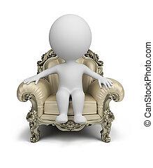 3d, 小さい, 人々, -, 贅沢, 肘掛け椅子
