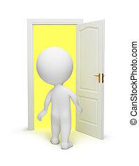 3d, 小さい, 人々, -, 開いているドア