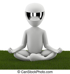 3d, 小さい, 人のモデル, 中に, a, レンゲ座, 上に, ∥, 緑, grass., meditation.,...