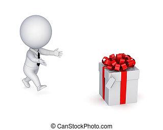 3d, 小さい, 人ランニング, へ, a, 贈り物, box.