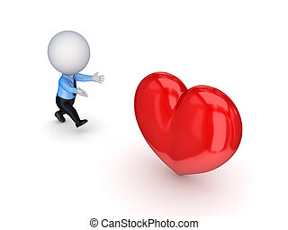 3d, 小さい, 人ランニング, へ, a, 赤, heart.