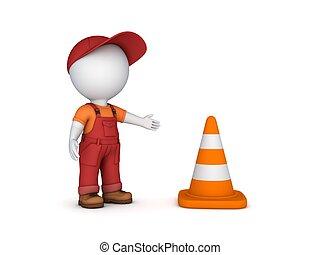 3d, 小さい, 人, そして, 交通, cone.