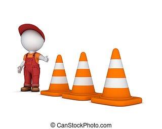 3d, 小さい, 人, そして, 交通, cones.