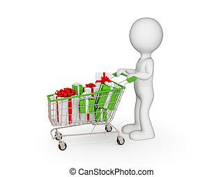 3d, 小さい, 人, ∥で∥, 買い物, trolley.