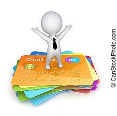 3d, 小さい, 人, 上に, a, クレジット, カード。
