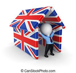 3d, 小さい, 人, 下に, イギリス, flags.