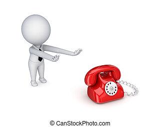 3d, 小さい, 人, 引く, 手, へ, a, telephone.