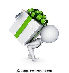 .3d, 小さい, 人, 押す, a, 贈り物の箱