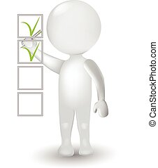 3d, 小さい, 白, 人, そして, 調査, チェックリスト