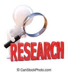 "3d, 小人, 看, the, 詞, ""research"", 透過, a, 放大鏡"