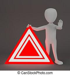 3d, 小, 人们, -, 紧急事件, 标志。