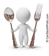 3d, 小, 人們, -, 叉子, 以及, 勺