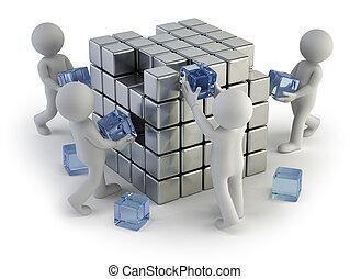 3d, 小, 人們, -, 概念, ......的, 建立