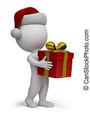 3d, 小, 人們, -, 聖誕老人, 由于, a, 禮物