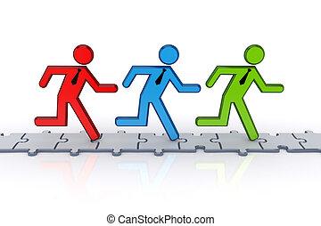 3d, 小, 人們, 跑, 上, puzzles.