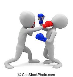 3d, 小, 人們, boxing., 3d, image., 上, a, 白色 背景