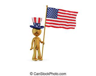 3d, 小, 人, 由于, 美國人, flag.