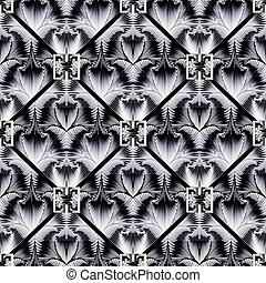 3d, 幾何学的, グランジ, pattern., seamless, ギリシャ語