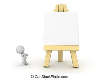 3d, 性格, 看, 艺术, 画架
