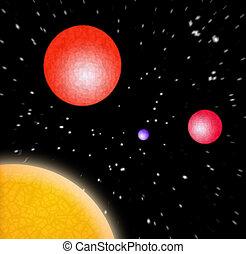 3d, 惑星, 中に, スペース