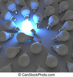 3d, 成長する, 電球, 際立, から, ∥, unlit, 白熱, 電球, ∥ように∥, リーダーシップ, 概念