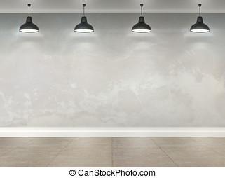 3d, 房間, 由于, 天花板, 燈