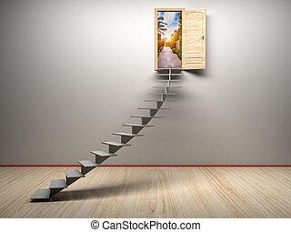 3d, 房間, 由于, 打開, 門