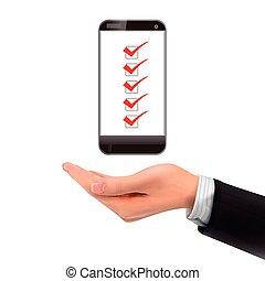 3d, 手の 保有物, smartphone