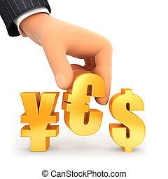 3d, 手, そして, 通貨, 印, はい, 概念
