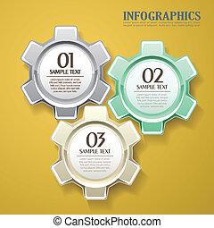 3d, 抽象的, ベクトル, ギヤ, infographics