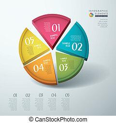 3d, 抽象的, ベクトル, チャート, infographics