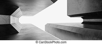3d, 抽象的, 建物, 未来派, 暗い, レンダリング, 背景, イラスト, ライト, 都市, 地下室, 現代, グランジ, デザイン, コンクリート