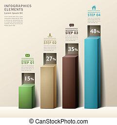 3d, 抽象的, 現代, チャート, infographics