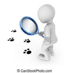 3d, 拡大鏡を持つ人, 見る, 動物, 跡, 上に, a, floor.