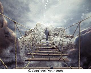 3d, 提供, 在中, 不稳定, 架桥