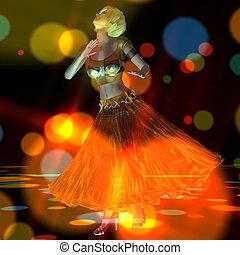 3d, 插圖, ......的, a, 跳舞, 女孩