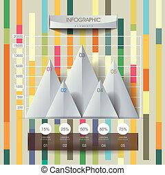 3d, 摘要, 线, 同时,, 三角形, 图表, infographics