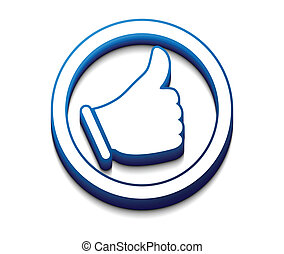3d, 有光澤, like/thumbs, 向上, 符號