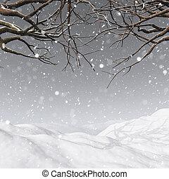 3d, 木の 冬, 背景, 雪が多い