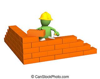 3d, 木偶, -, 建造者, 建築物, a, 磚牆