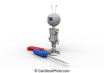 3d, 机器人, 带, 螺丝刀