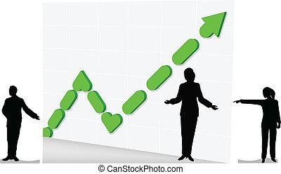 3d, 條形圖, 以及, 商務成長