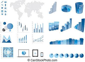 3d, 棒グラフ, 金融, elemtns