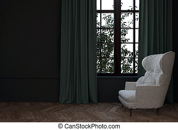 3d, 椅子, 部屋, カーテン