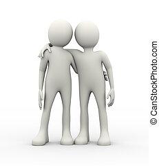 3d, 概念, の, 協力, そして, 友情