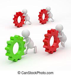 3d, 概念, 齿轮, 成功, 人们